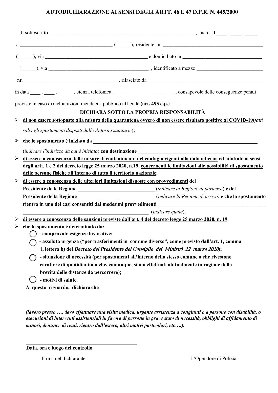 Modello di Autocertificazione aggiornato al 27.03.2020 per i cittadini che devono spostarsi